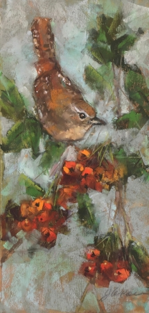 Wren in Fall Berries by artist Jan Weaver